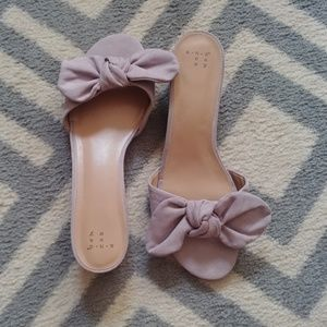 A new day lavender bow slip on sandals